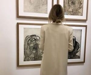 art, girl, and beige image