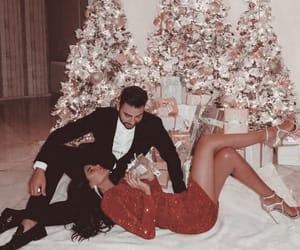couple, love, and christmas tree image