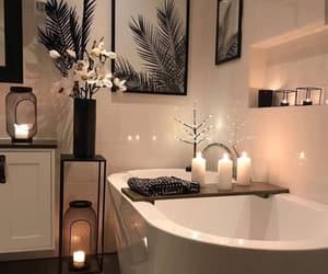 bathroom, candle, and decor image