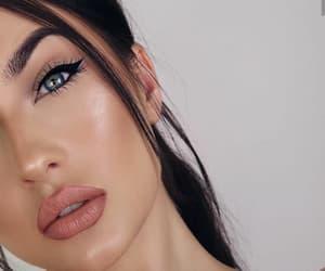 eyeliner, makeup, and nude lips image