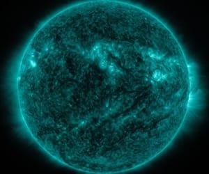 blue, galaxy, and sun image