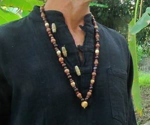 beaded necklace, mens necklace, and fossilized image