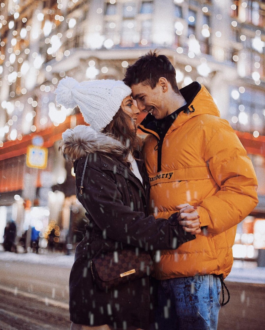 couple, new year, and snow image