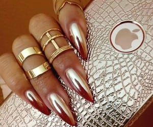 gold, nails, and iphone image