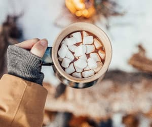 cold, hot cocoa, and snow image