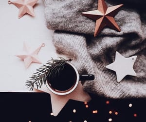 stars, coffee, and christmas image
