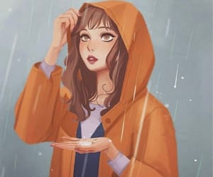 rain and girl image