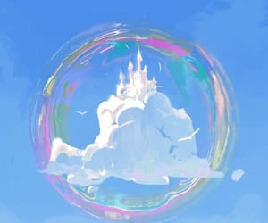 bubbles, Castle in the Sky, and clouds image