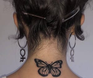 tattoo, butterfly, and earrings image