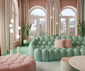 green, interior, and pink image