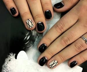 black nails, nail art, and nail polish image