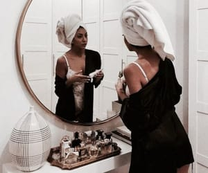 girl, makeup, and mirror image