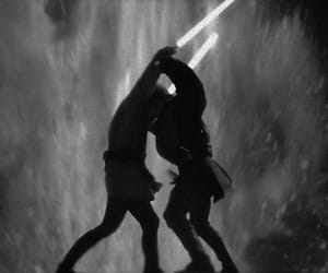 Anakin Skywalker, b&w, and lightsaber image