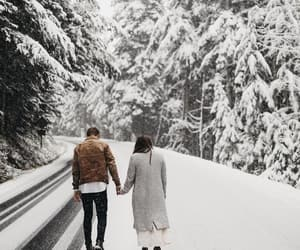 cold, couple, and snow image
