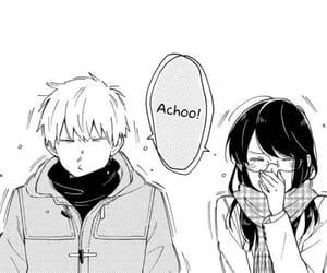 black and white, couple, and manga image