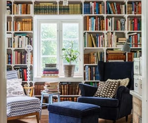 bookshelves, country living, and decor image