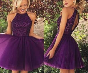 high neck prom dresses, purple homecoming dresses, and prom dresses short image