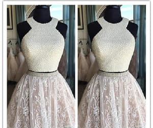 white lace prom dress, prom dress ball gown, and prom dress lace image