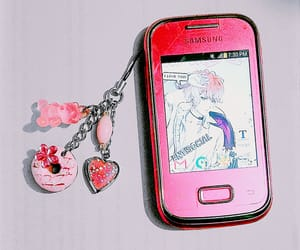 anime, pink, and cellphone image