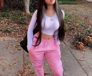 pink, girl, and style image