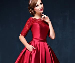 long sleeves prom dress, burgundy homecoming dress, and lace red prom dress image