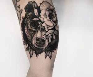 bear, black and white, and botanical image