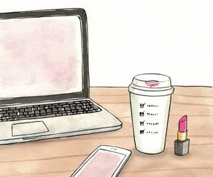laptop, lips, and pink image