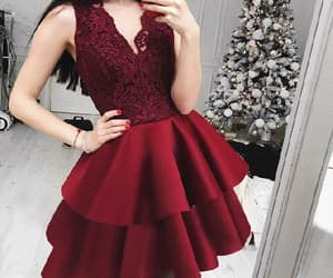 party dress, homecoming dress, and v-neck party dress image