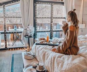 girl, winter, and breakfast image