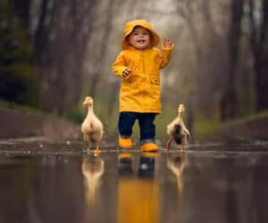 duck, rain, and kids image