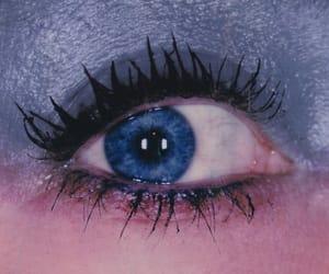 blue eyes, blue eyeshadow, and cosmetics image