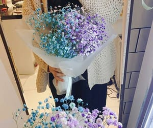blue, girl, and flowers image