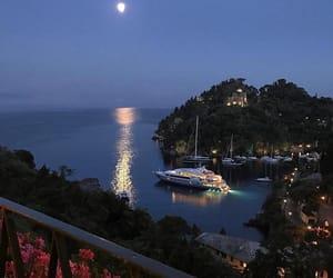 Island, vacation, and moon image