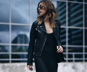 black, black dress, and black leather jacket image