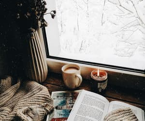 candle, winter, and book image
