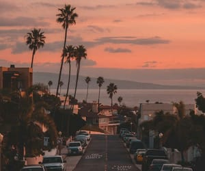 sunset, california, and cars image