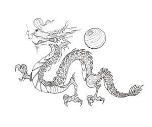 china, dragon, and art image