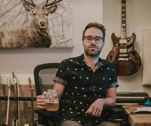 artist, beer, and guitar image