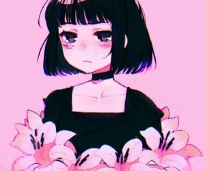 anime, pink, and flowers image