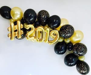balloons, gold, and new years image