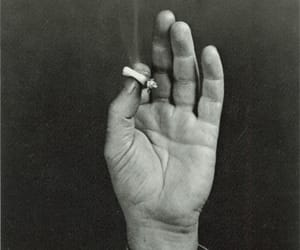 cigarette, hand, and black and white image