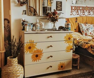 yellow, bedroom, and flowers image