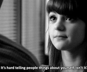 skins, quotes, and black and white image