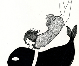 whale, girl, and art image
