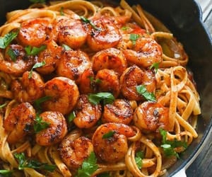 shrimp, pasta, and delicious image