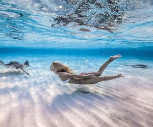 beautiful, diving, and girl image