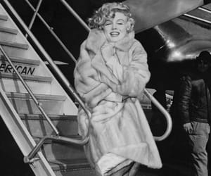 Marilyn Monroe, black and white, and fur image