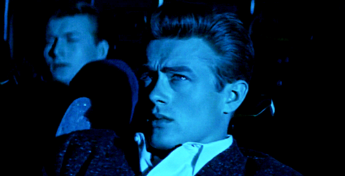 james dean, blue, and rebel without a cause image