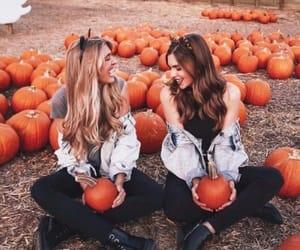 girls, pumpkin, and orange image