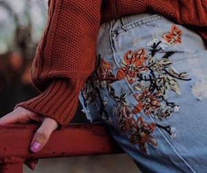 fashion, autumn, and flowers image